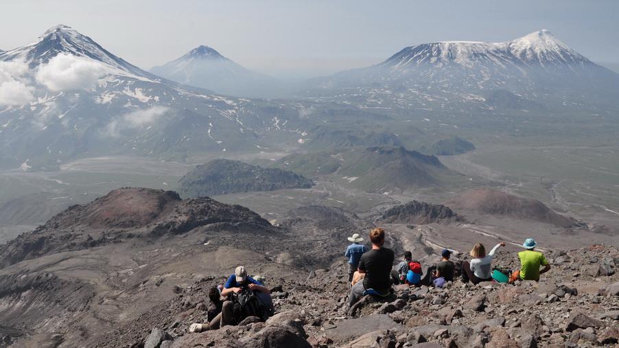 trekking around tolbachik volcano